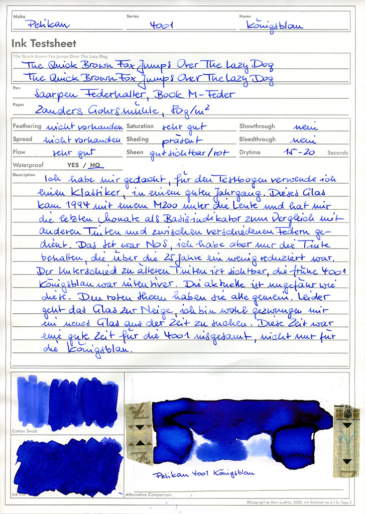 Tintentestbogen. 3. Revision