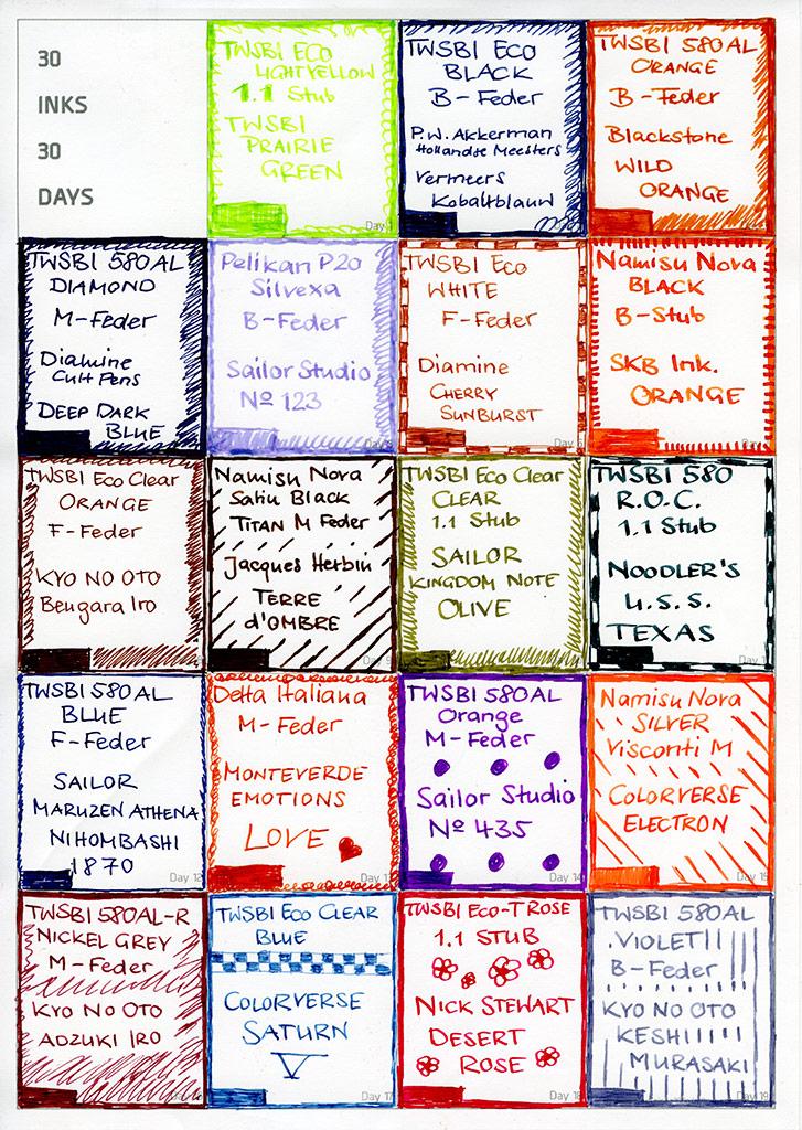 #30inks30days, Ersties Farben
